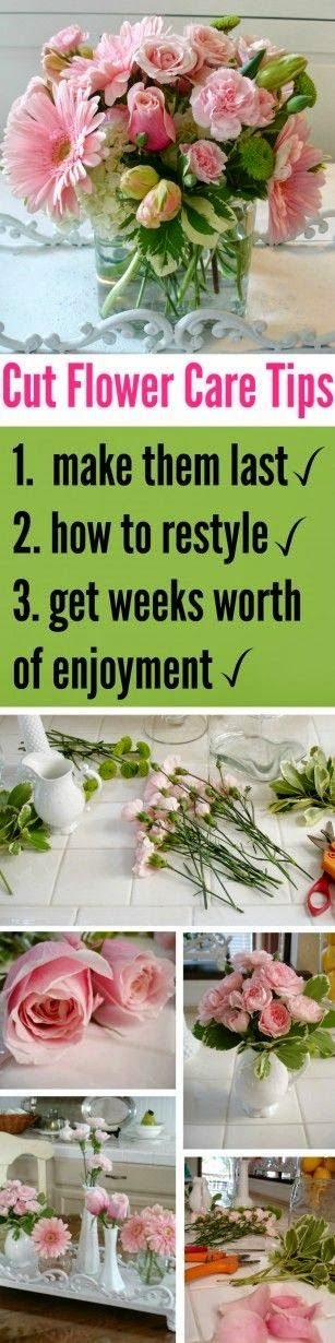 Best DIY Projects: tips and ideas on how to make floral arrangements last (PLUS how to restyle the good flowers when others start to fade)
