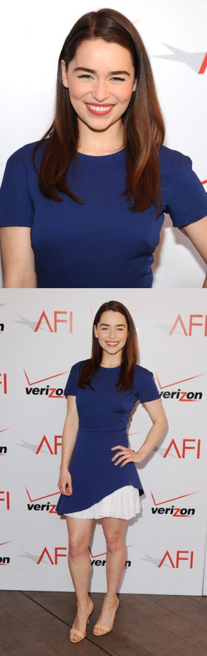 Emilia Clarke at the 14th Annual AFI Awards. Hair by	Jenny Cho. Styling by Kate Young.