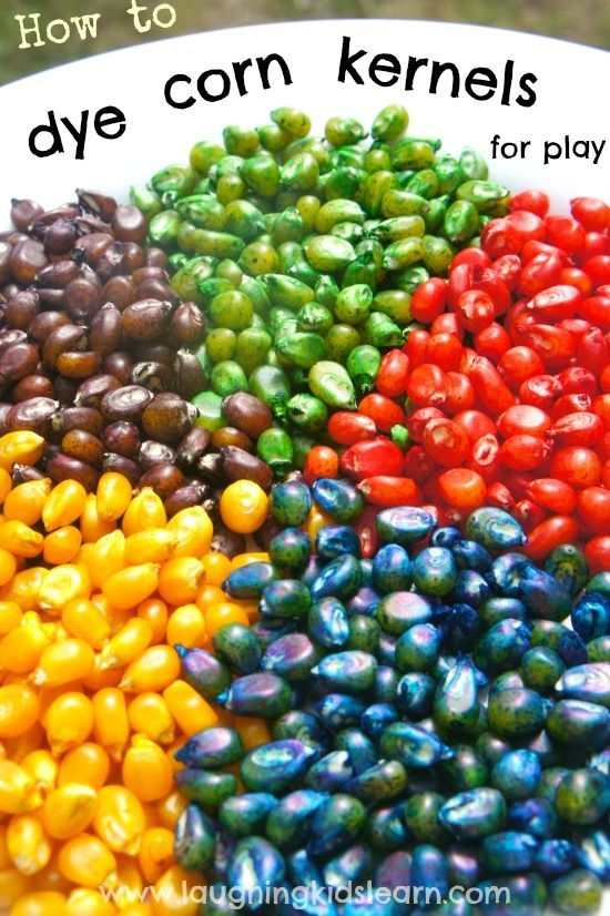 Simple instructions on how to dye corn kernels for play with children. Great for sensory play activities and developing fine motor skills.
