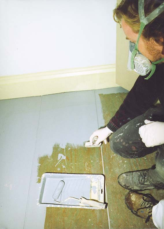 Great tips for painting wood floors including product info. Great info concerning gaps in older wood floors  how to fill them.