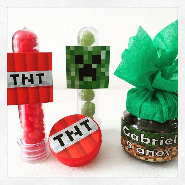 Lembrancinhas diversas do tema Minecraft, do Gabriel! Tubetes, latinha e potinho! #lembrancinhas #personalizados #minecraft #ratchimbum #loja #novaodessa