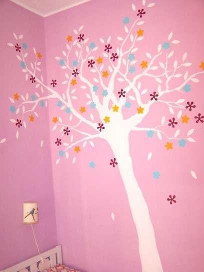 Adesivi murali per bambini - Adesivo con albero e fiori