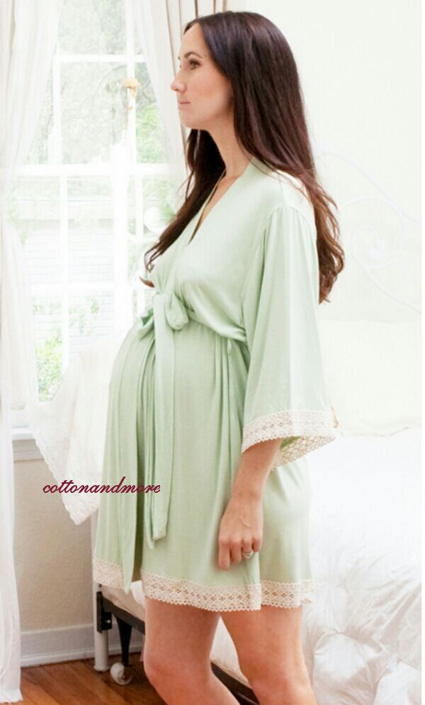 Maternity Hospital Gown Delivery Robe - Green - Perfect as labor delivery gown, nursing mothers, for moms