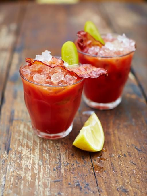 2 rashers higher-welfare smoked streaky bacon 200ml quality tomato juice 100ml vodka 2 teaspoons BBQ sauce 2 teaspoons Worcestershire sauce celery salt freshly ground black pepper ½ a lemon a large handful of ice cubes 1 gherkin