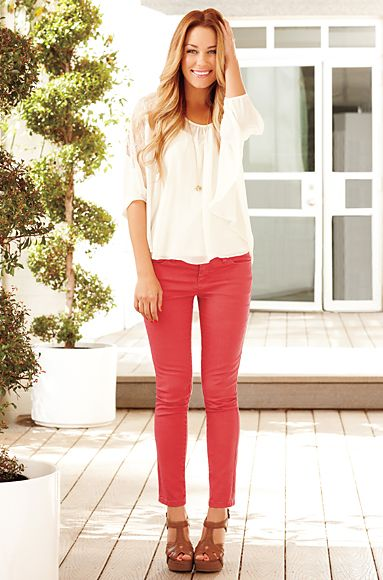 Love her style: Coral Jeans, Colors Pants, Coral Pants, Skinny Jeans, Colors Jeans, Pink Pants, Lauren Conrad, Colors Denim, Red Pants