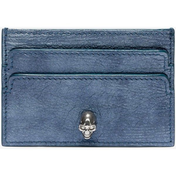 Alexander McQueen Grain Leather Card Holder (£115) ❤ liked on Polyvore featuring bags, wallets, denim, card case wallet, alexander mcqueen wallet, full grain leather bag, alexander mcqueen and card carrier wallet
