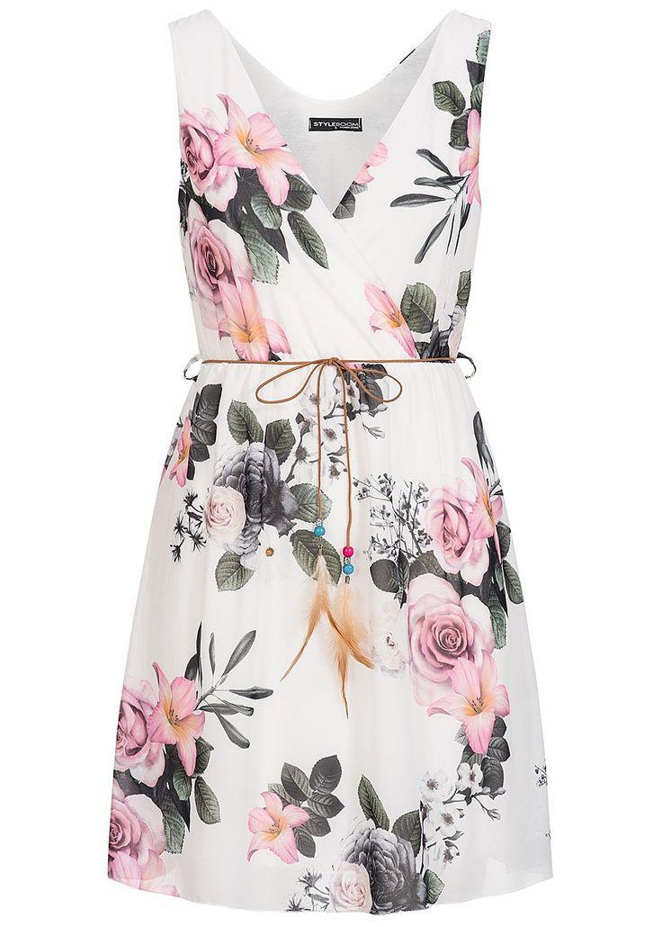 Styleboom Fashion Damen Kleid V-Ausschnitt Gummizug Blumen Muster Riemen Gürtel weiss - 77onlineshop