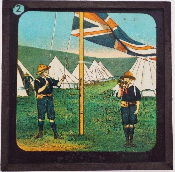 Boy Scouts - 7 x Antique Magic Lantern Slides - Primus