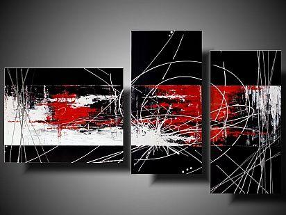 Obraz abstrakcja. Ręcznie malowany obraz akrylowy, tryptyk na płótnie.  #abstractpainting #obrazyabstrakcja