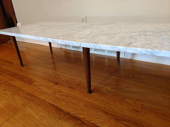 Mid Century White Carrara Marble 72 Inch Coffee Table Coffee