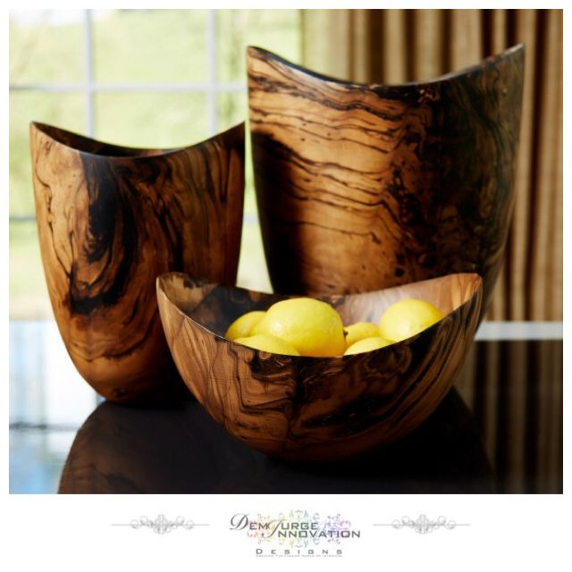 These Woody vases & bowl are inspired by organic forms and natural textures - Carved from Mango wood, the Woody Vases & bowl have been treated with a bi-colour finish to create the most stunning marbled effect and will look great alongside glass and ceramics for textural variation - Available Now #InteriorDesign #InteriorDecoration #Furniture #HomeJewellery #DemiurgeInnovationDesigns
