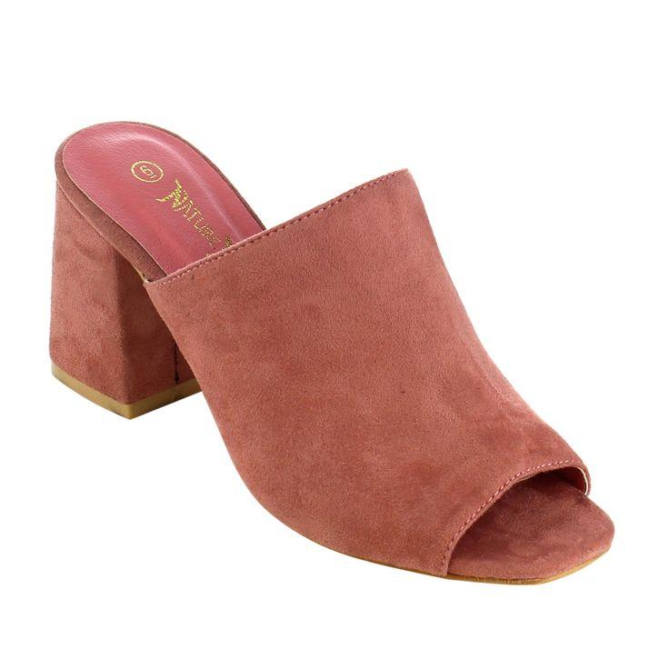 Nature Breeze Women's Faux Peep-toe Block Heel Mule Sandals
