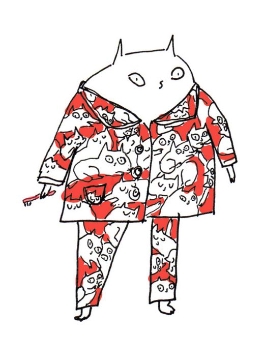 Cat's Pajamas! From Jamie Shelman's Dancing Cat Calendar (December) • https://www.flickr.com/photos/33445830@N07/6200572359/in/album-72157627584901199/ • http://chercat.tumblr.com/post/13538301622/thesweetandthefine-2012-cats-pajamas-calendar