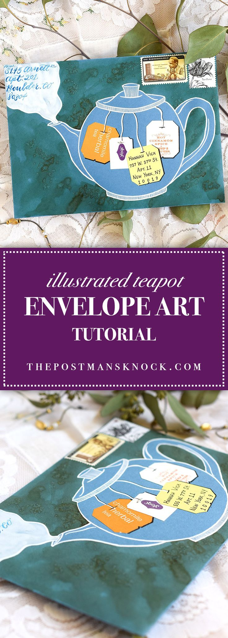 If you have a few minutes to make some lovely and unique envelope art, then you'll enjoy this simple tutorial! Get your tea bag tags ready!