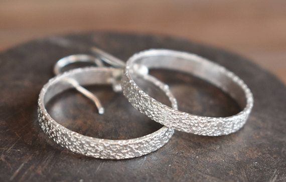 Sterling Silver Sparkly Textured Hoop Earrings-Boho-silver