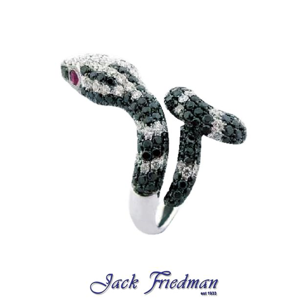 Animal Collection | Black and white diamond snake ring with ruby eyes jackfriedman.co.za