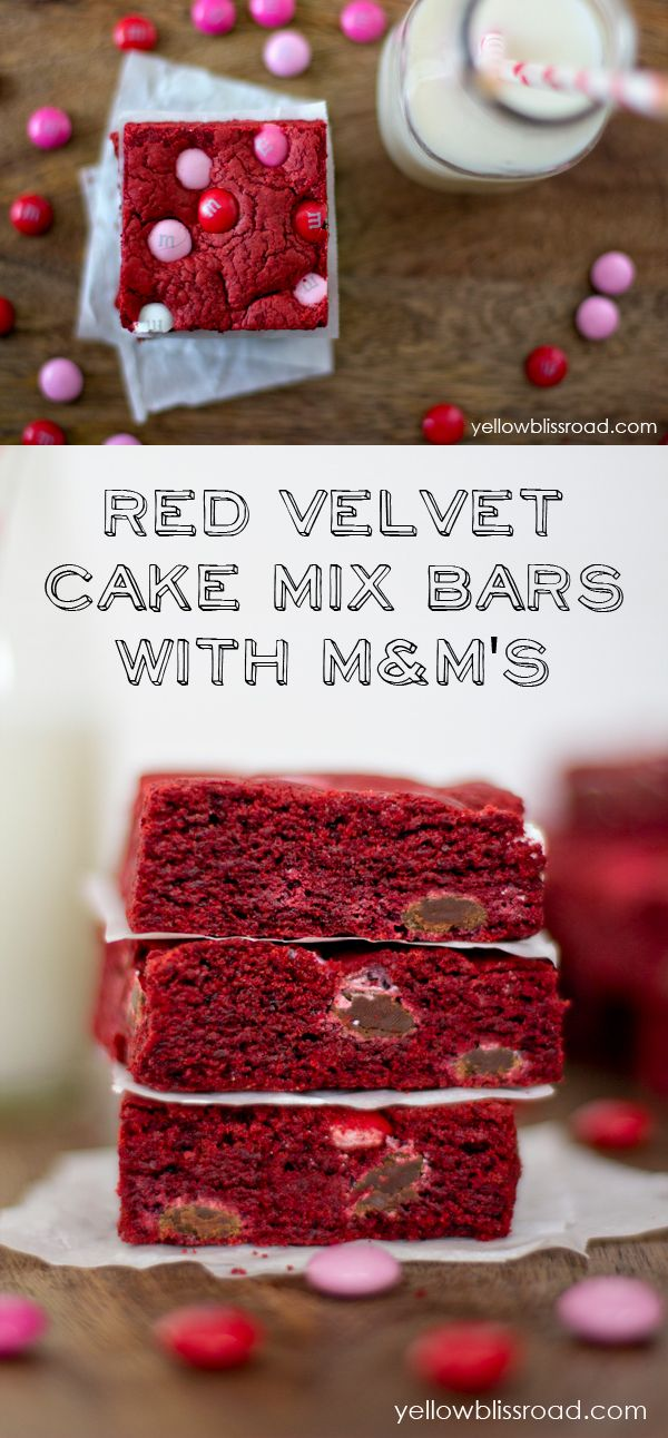 Red Velvet Cake Mix Bars with M&Ms recipe - A yummy Valentine treat idea.