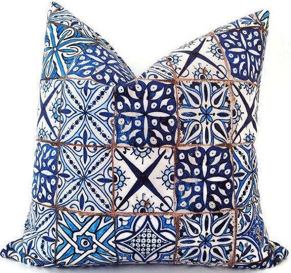 Blue Pillows  Block Print Pillow  Moroccan by CaliforniaLivinHome