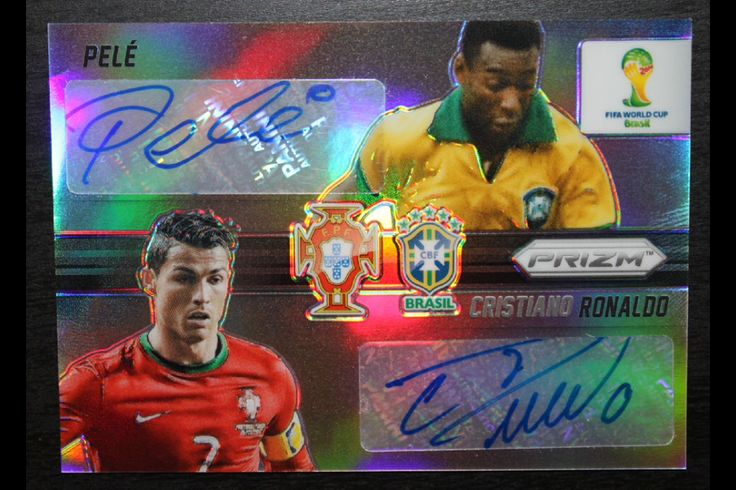 Scarce:  2014 PANINI WORLD CUP PRIZM CRISTIANO RONALDO PELE DUAL REFRACTOR AUTO NUMBERED 1/10 SELLS @ AUCTION $9,999,