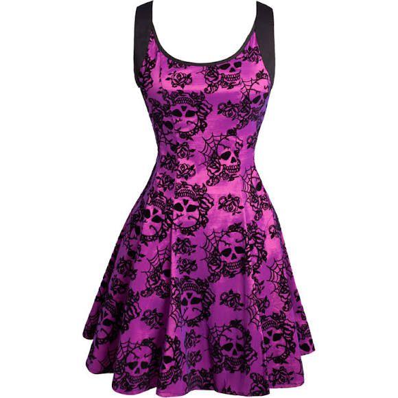 Purple Skull Dress with Shoulder Straps