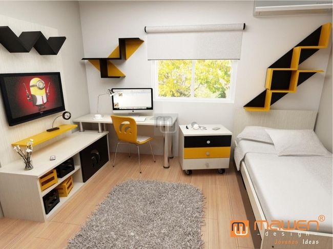 dormitorio completo con cama escritorio y rack para el tele