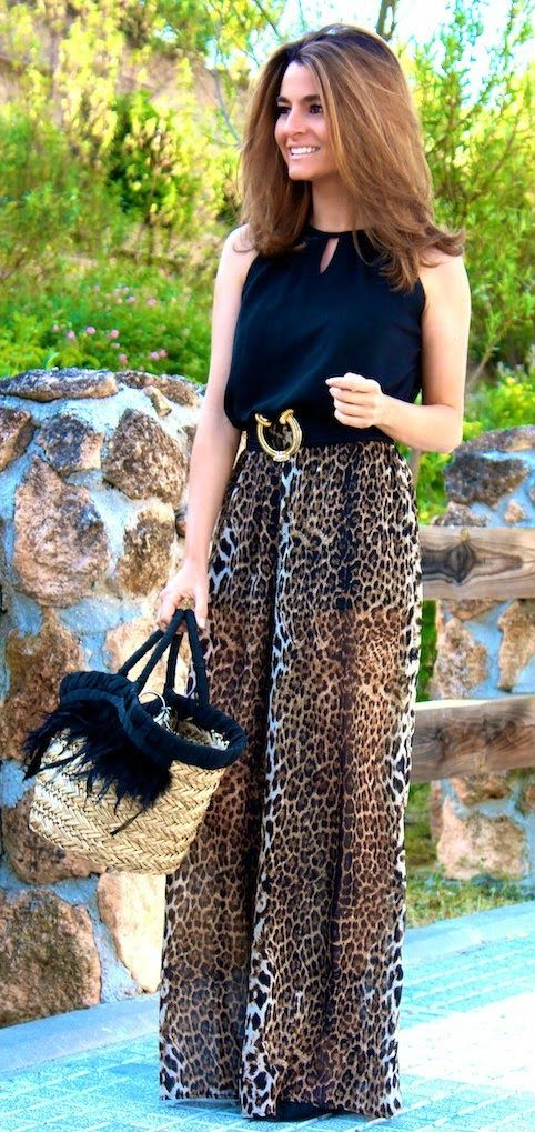 Zeliha's Blog: Adorable Leopard Maxi Top Black Blouse