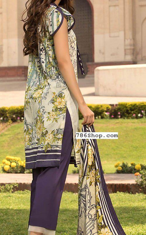 8bb9346101 Off-white/Indigo Lawn Suit   Buy Pakistani Indian Dresses   786Shop.com