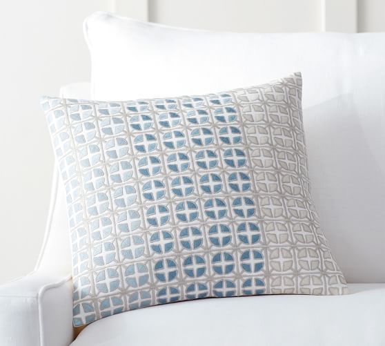natalie geo embroidered pillow cover pottery barn