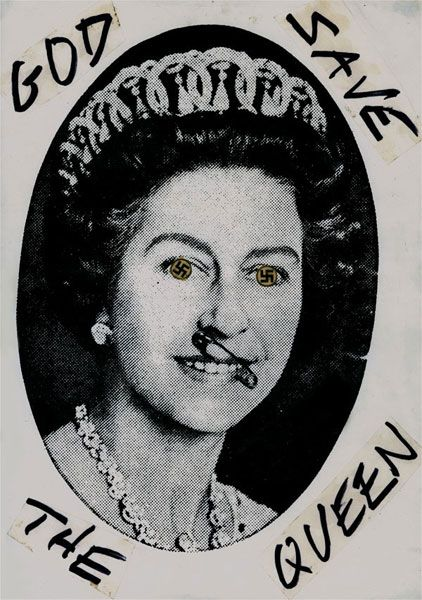 God Save The Queen - Swastika Eyes (1977), Newsprint collage with ink on paper, 420mm x 297mm, Jamie Reid (Private collection Houston, TX)