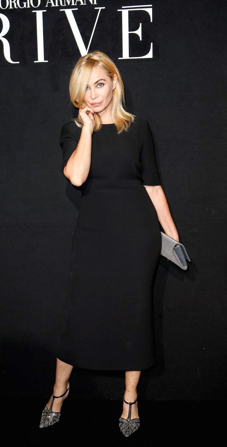 Emmanuelle Béart attends the Giorgio Armani Privé show as part of Paris Fashion Week Haute Couture.