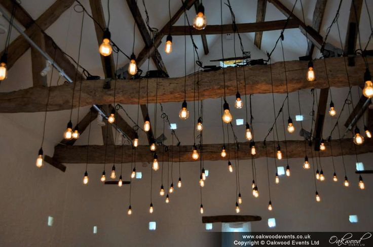 Chic and stylish wedding lights by Oakwood Events. Edison bare bulb canopy for a barn wedding