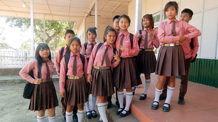 Photo : School girls of NEMS Hnahthial, Lunglei, Mizoram, India