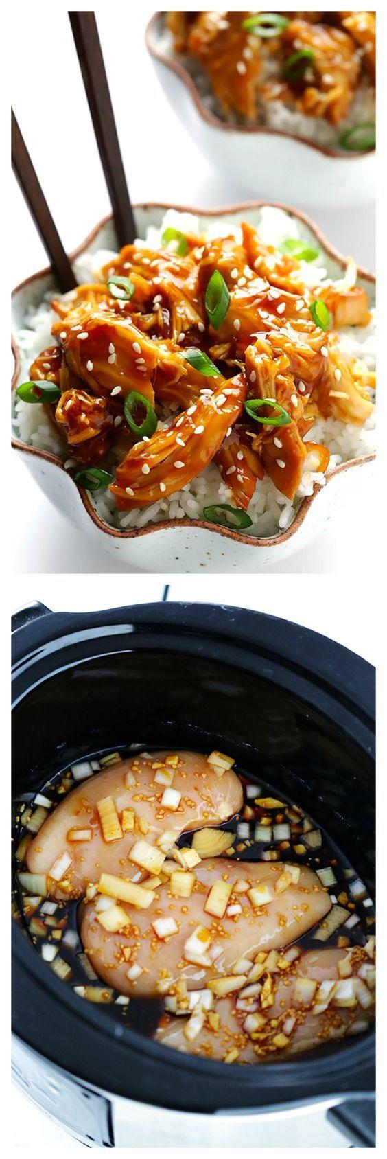 Slow Cooker Teriyaki Chicken -- £ 2 pechugas de pollo sin piel 2 dientes de ajo, picado 1/2 taza de cebolla picada blanco 1/2 taza de miel 1/2 taza de salsa de soja (usar bajo en sodio si se desea) de arroz 1/4 taza de vinagre de vino 1 cucharada. de jengibre fresco picado 1/8 cucharadita. pimienta recién molida negro 1/4 taza de agua fría 3 cucharadas. almidón de maíz (coberturas opcionales: cebolletas en rodajas y las semillas de sésamo tostadas) INSTRUCCIONES: Agregar las pechugas de…