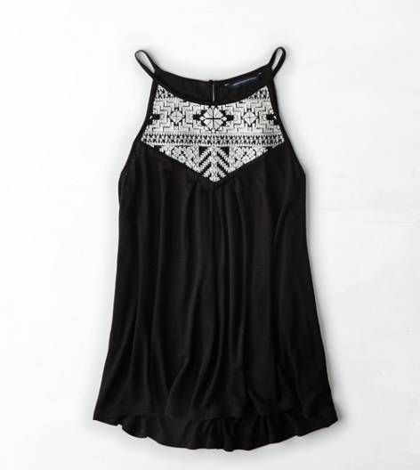 Black AEO High Neck Embroidered Tank, size small