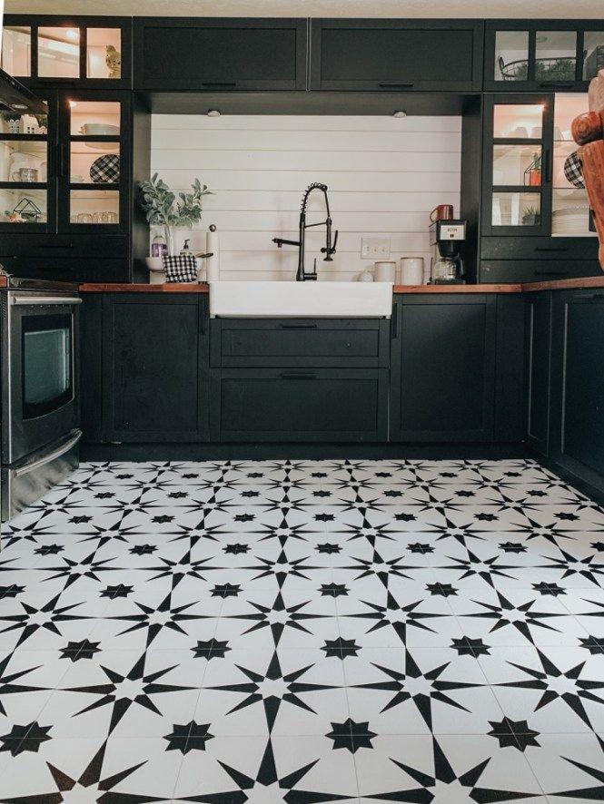 Kitchen Floor Makeover With Floor Pops Altair Tiles Fontaine Farmhouse Kitchen Flooring White Tile Kitchen Floor White Tile Floor