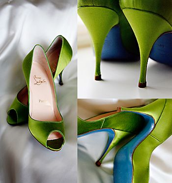 Green Christian Louboutin wedding shoes. (A girl can dream.): Green Shoes, Green Wedding Shoes, Weddings, Wedding Colors, Blue Shoes, Christian Louboutin, Something Blue, Blue Sole, Louboutin Shoes