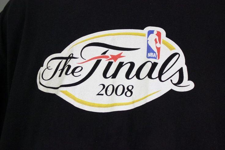 NBA Finals T Shirt Tee Sz XL Black 2008 Lakers Celtics T Mobile Basketball Pink #Hanes #GraphicTee