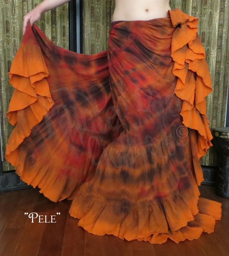 """Pele"" 25 Yard Marble FX Petticoat Skirt   Named after the Hawaiian goddess of volcanoes, you can see the flowing lava come alive with your dance steps.   You can order yours or create your own color combo here: http://www.paintedladyemporium.com/Shop-Here.html"