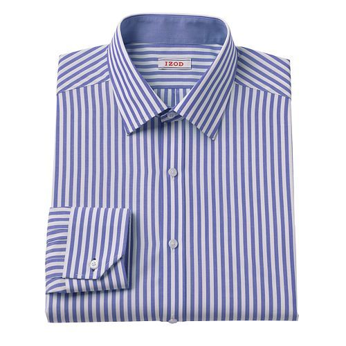 IZOD Classic-Fit Striped No-Iron Spread-Collar Dress Shirt ...