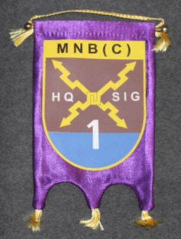Finnish KFOR ( kosovo force ) table pennant, MNB (C) HQ SIG 1, multinational bat. signalists.