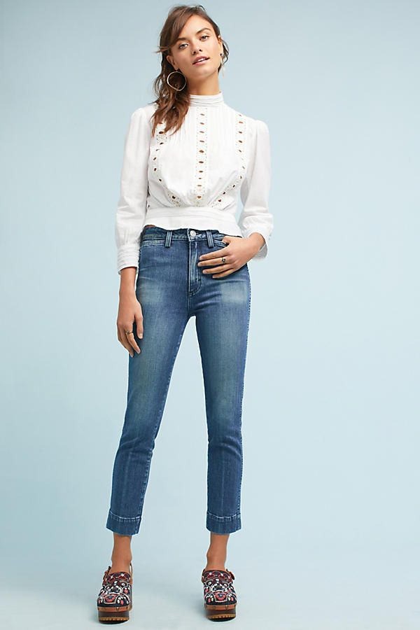 77d88e6dc AMO Audrey Ultra High-Rise Straight Cropped Jeans | Camisa branca ...