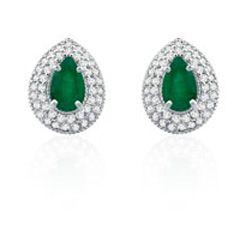 Brinco Ouro Branco Diamantes e Esmeralda Classic Oriental