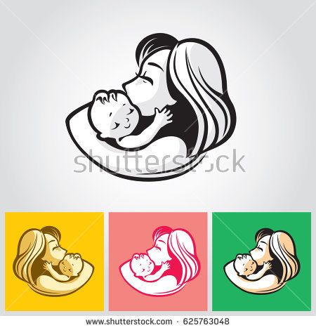 Mother with baby - beautiful vector illustration, graphic image, computer icon, label design element. Monochrome colors.