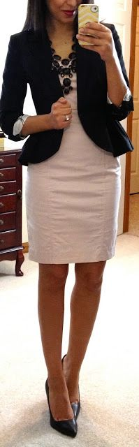 principals good but proportions are a bit off - balance all wrong; white dress, heels, blazer, necklace