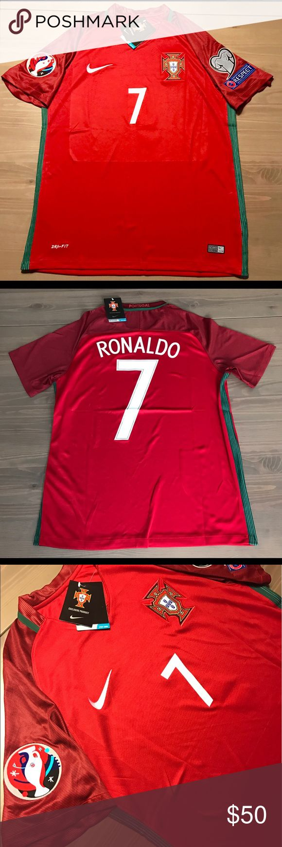 Portugal home red Jersey Ronaldo #7 Soccer men Portugal home red Jersey Ronaldo #7 Soccer men Euro Cup Patches Nike Nike Shirts Tees - Short Sleeve