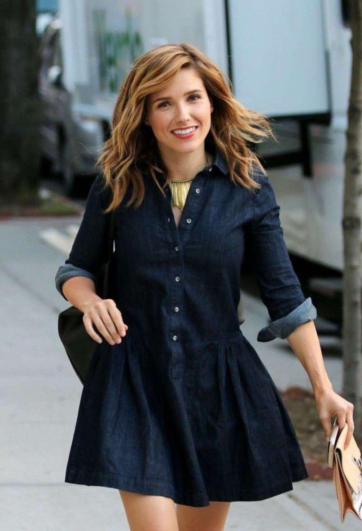 Sophia Bush in Mini Dress on set in New York City