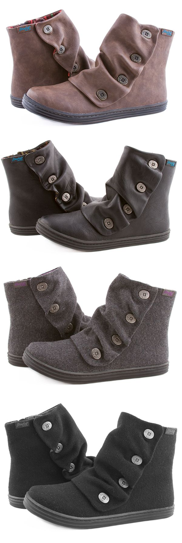 Keep warm with style in the Rabbit ankle bootie. Features include a variety of woven fabrics, soft faux leathers, warm faux suedes, gathered detailing and our signature Blowfish button accents. Don't forget to grab your hat, gloves, and Rabbit boots to complete your winter essentials! This style tends to run a little small, we recommend going a 1/2 size up!