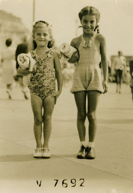 two girls off for a swim