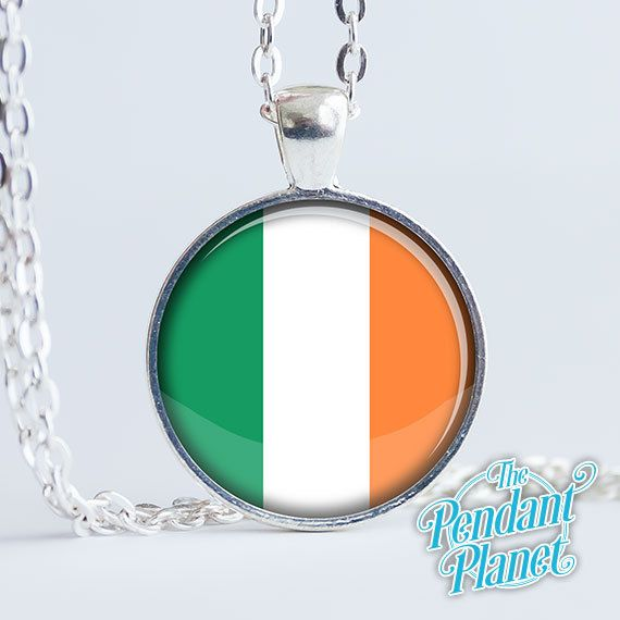 Irish jewelry Flag of Ireland necklace national flags Irish tricolour gift for her  Irish heritage Irish Republic by ThePendantPlanet