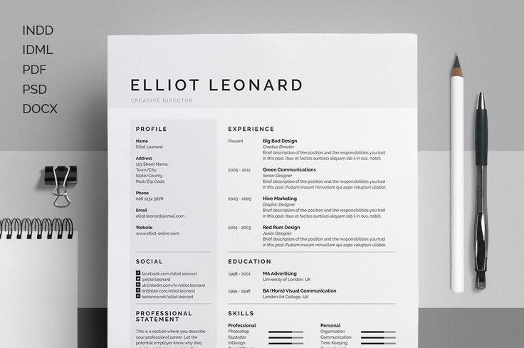 Resume/CV - Elliot by bilmaw creative on Creative Market